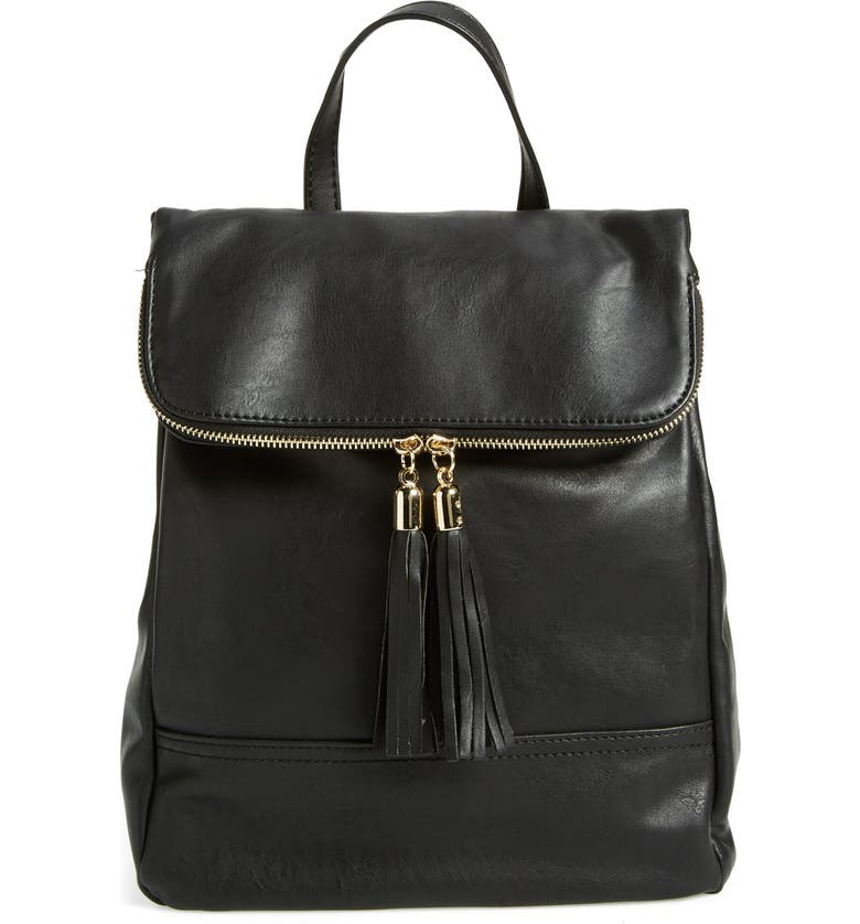 EMPERIA Faux Leather Backpack, Main, color, 001