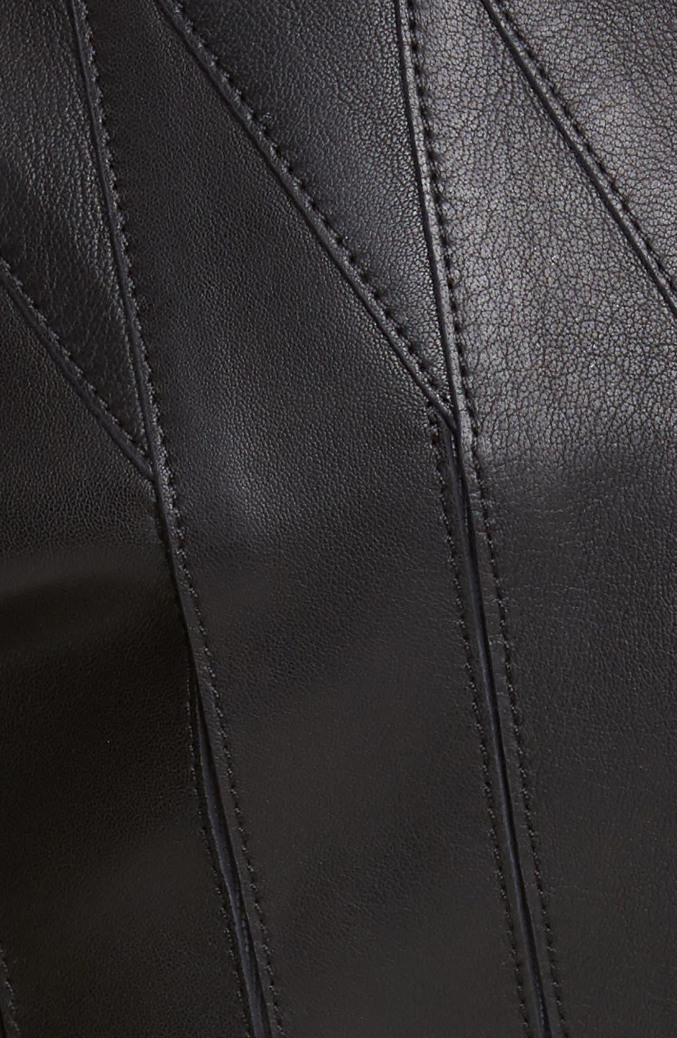 ,                             Logo Leather Jacket,                             Alternate thumbnail 5, color,                             BLACK