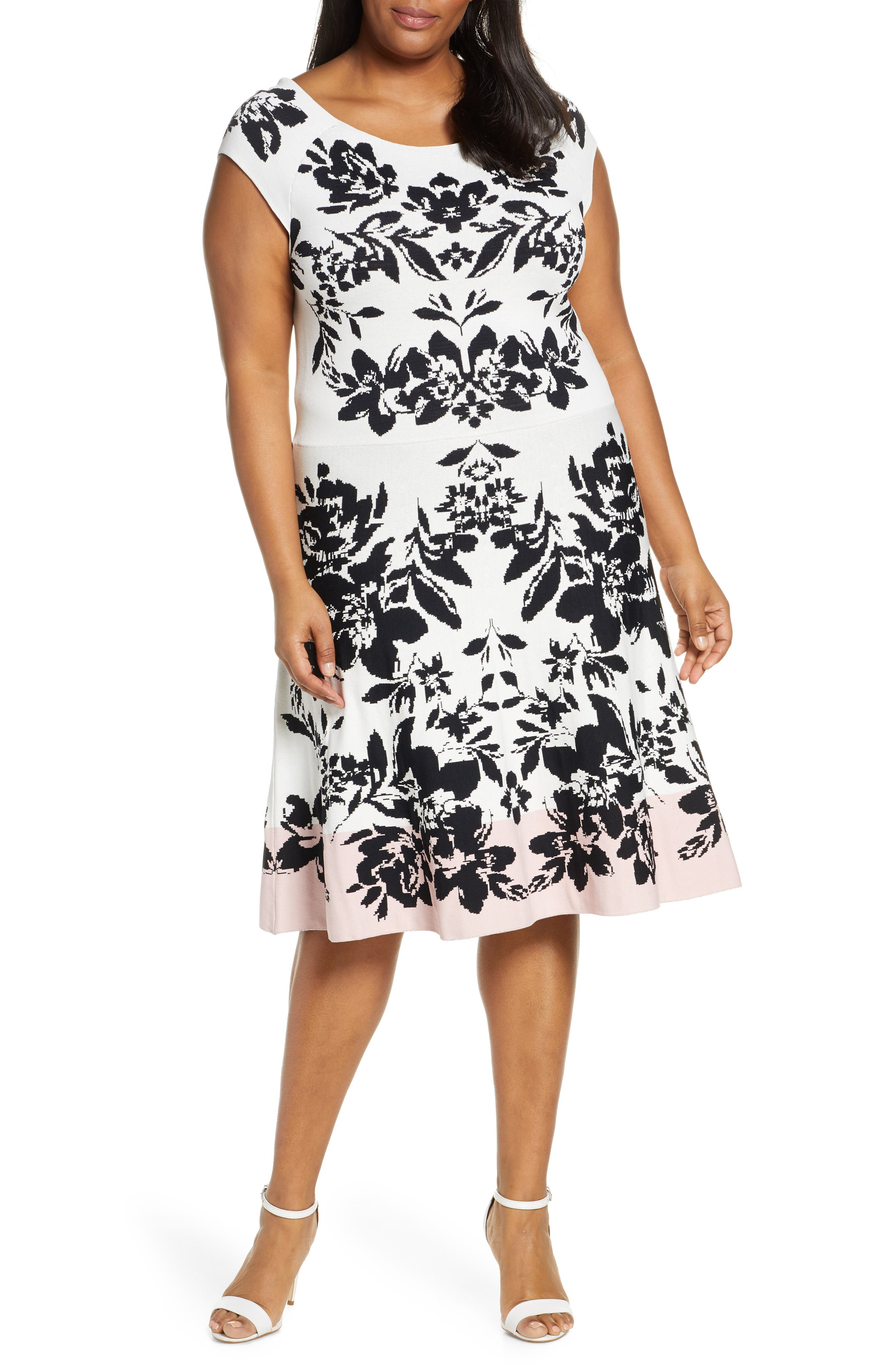 Plus Size Eliza J Jacquard Fit & Flare Sweater Dress, Pink