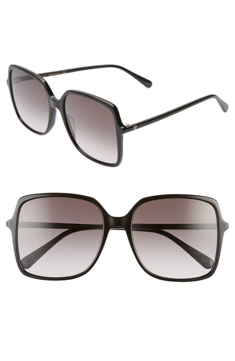 GUCCI 57mm Square Sunglasses, Main, color, BLACK/ GREY GRADIENT