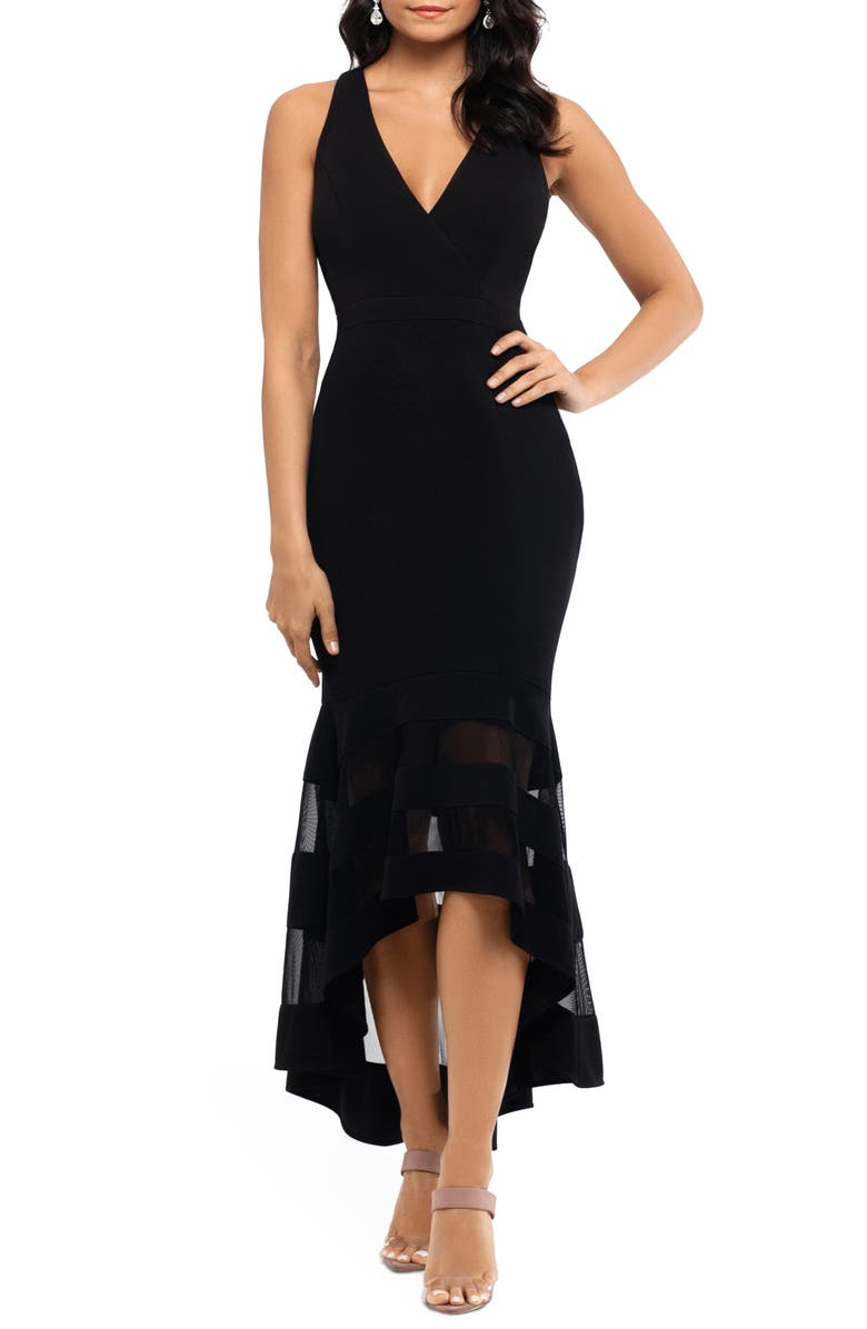 XSCAPE High/Low Flounce Midi Dress, Main, color, BLACK