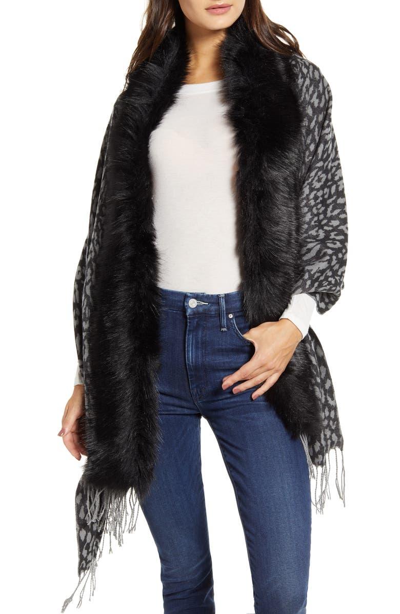 LOVE TOKEN Faux Fur Trim Knit Wrap, Main, color, GREY LEOPARD