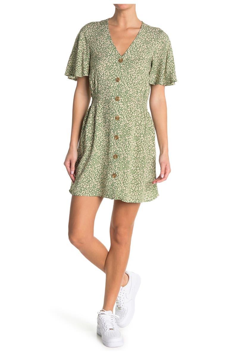ABOUND Flutter Sleeve Button Front Dress, Main, color, OLIVE ANIMAL