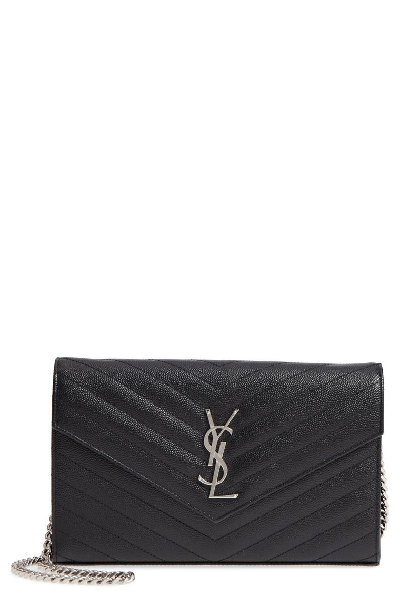 SAINT LAURENT Monogram Quilted Leather Wallet on a Chain, Main, color, NOIR