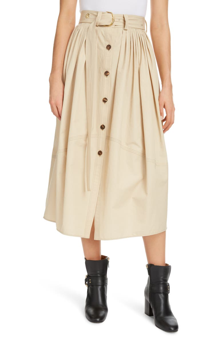 CHLOÉ Belted Pleated Poplin Midi Skirt, Main, color, SOFTEN BROWN