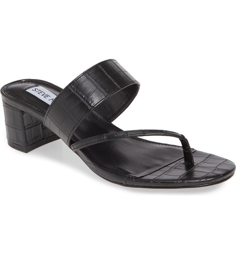 STEVE MADDEN Ronan Slide Sandal, Main, color, BLACK CROCO