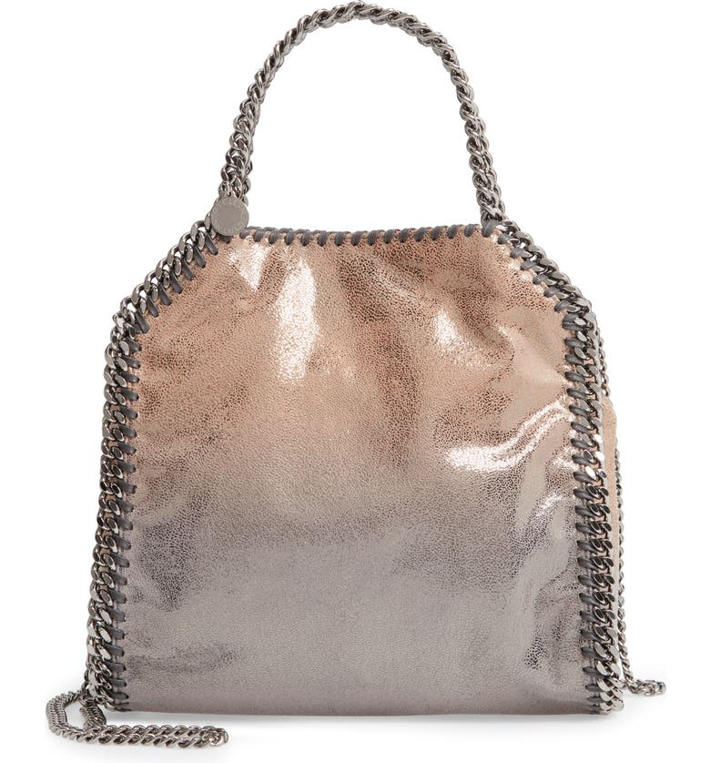 STELLA MCCARTNEY Mini Falabella Shaggy Deer Faux Leather Tote, Main, color, GOLD/ GREY