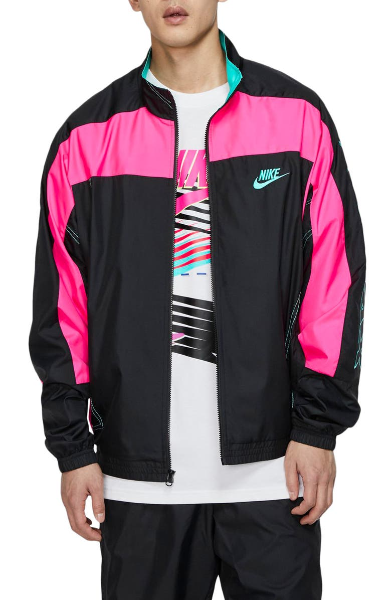 NIKE x atmos Men's Track Jacket, Main, color, BLACK/ HYPER PINK/ HYPER JADE