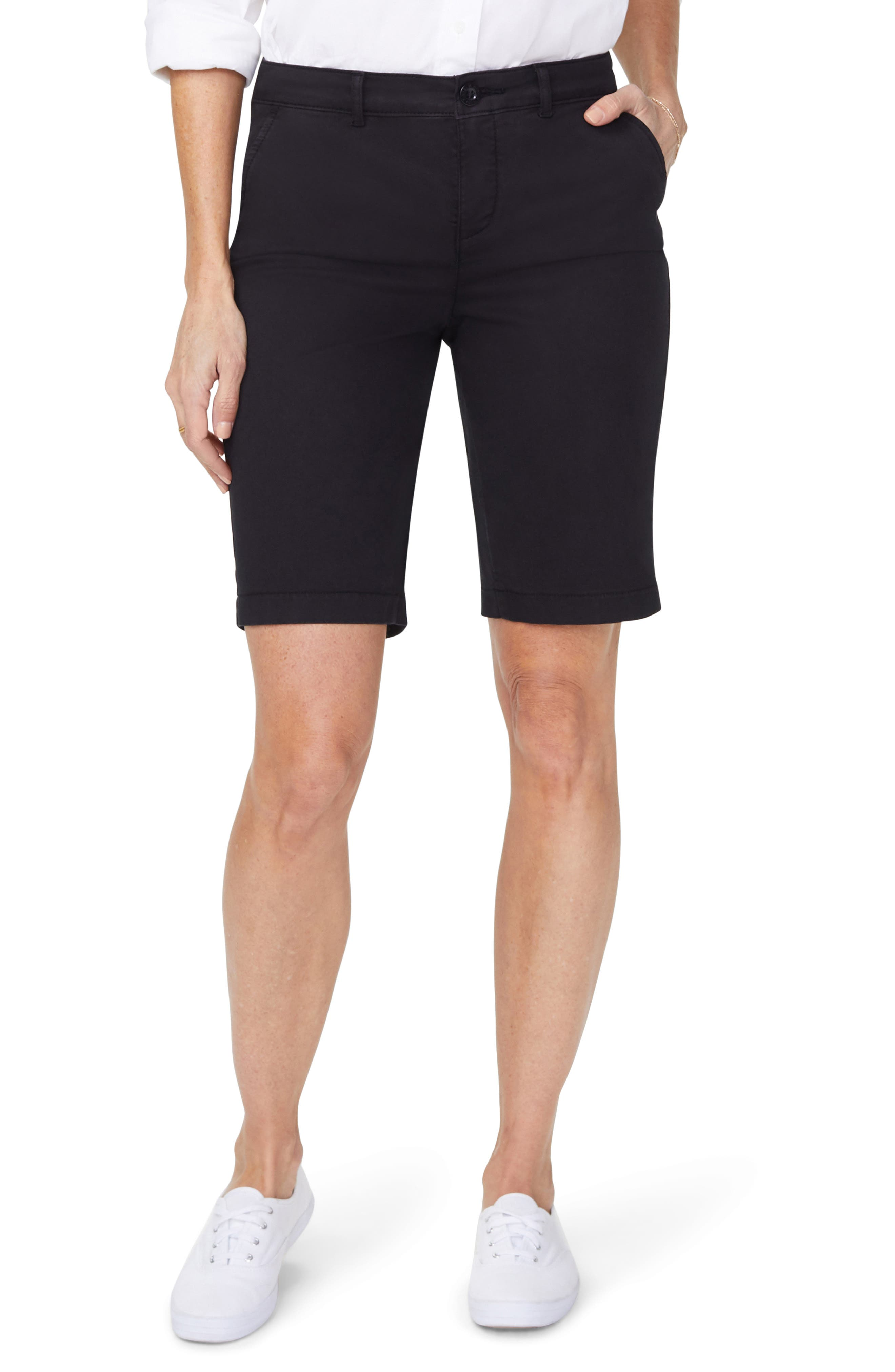 Petite Women's Nydj Stretch Cotton Blend Twill Bermuda Shorts,  4P - Black