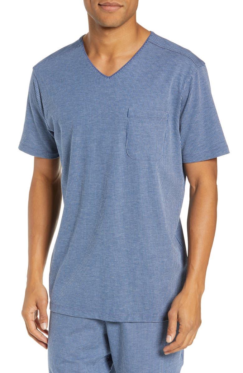 DANIEL BUCHLER Pinstripe Stretch Cotton & Modal Sleep T-Shirt, Main, color, BLUE