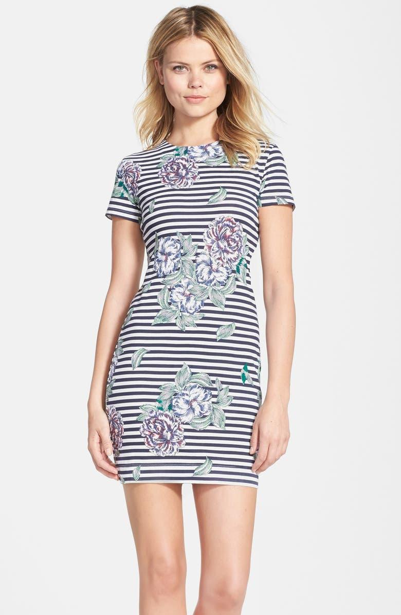 FRENCH CONNECTION 'Bonita' Stripe Floral Body-Con Dress, Main, color, 401
