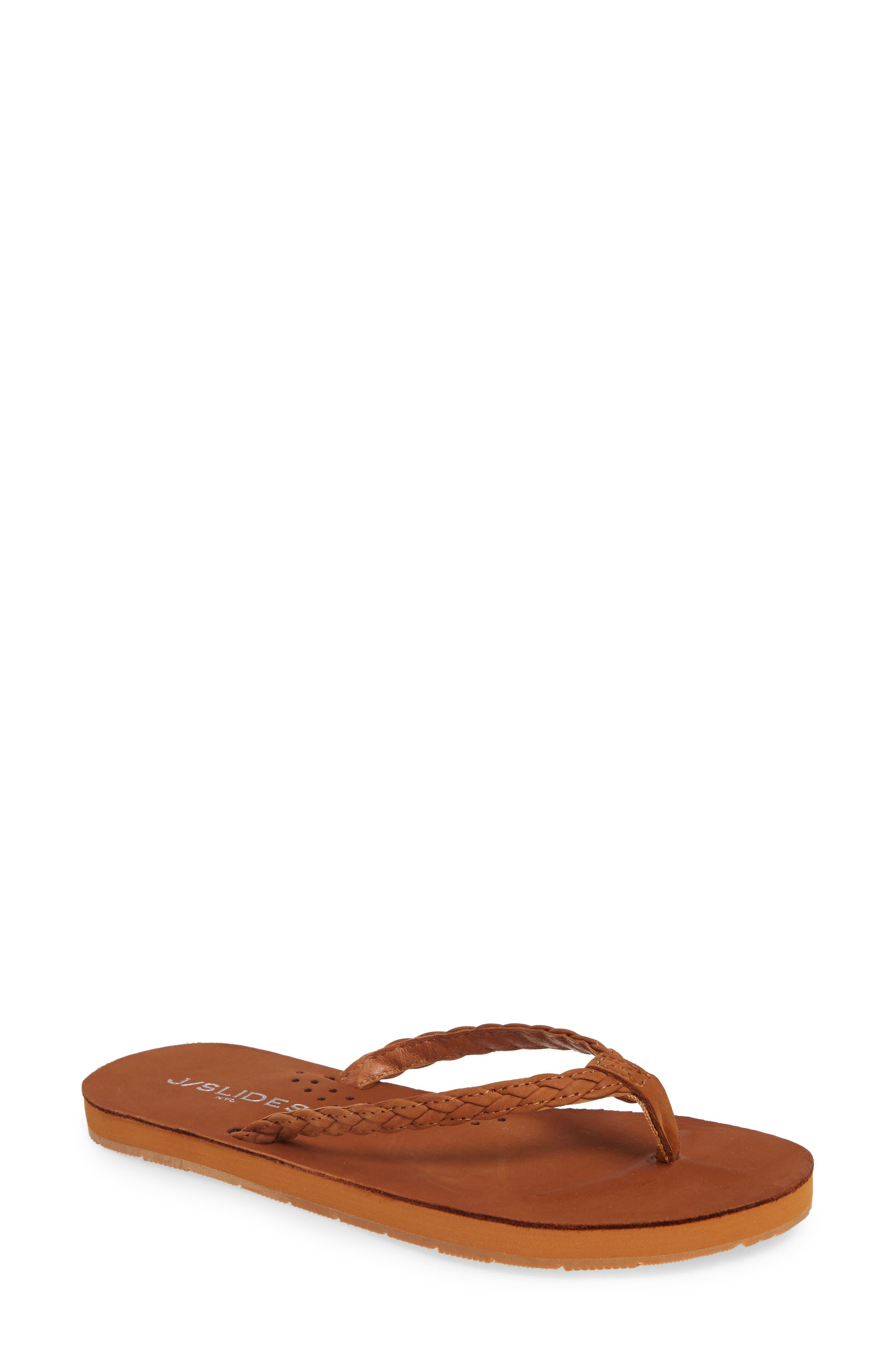 Jslides Nadia Braided Flip Flop, Brown