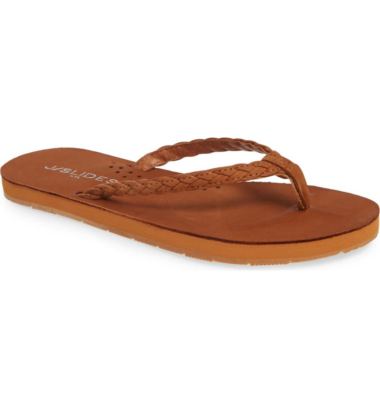 JSLIDES Nadia Braided Flip Flop, Main, color, COGNAC LEATHER