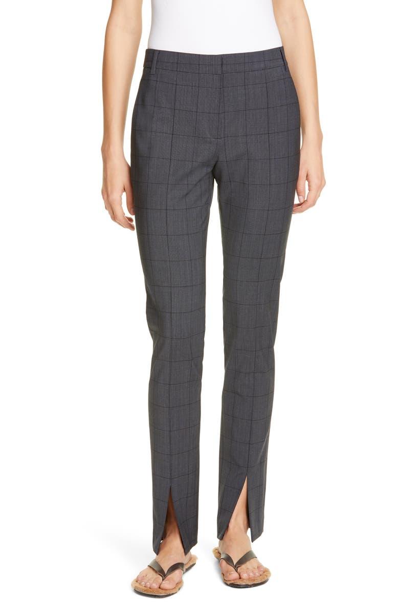 TIBI Windowpane Menswear Slim Pants, Main, color, GREY MULTI