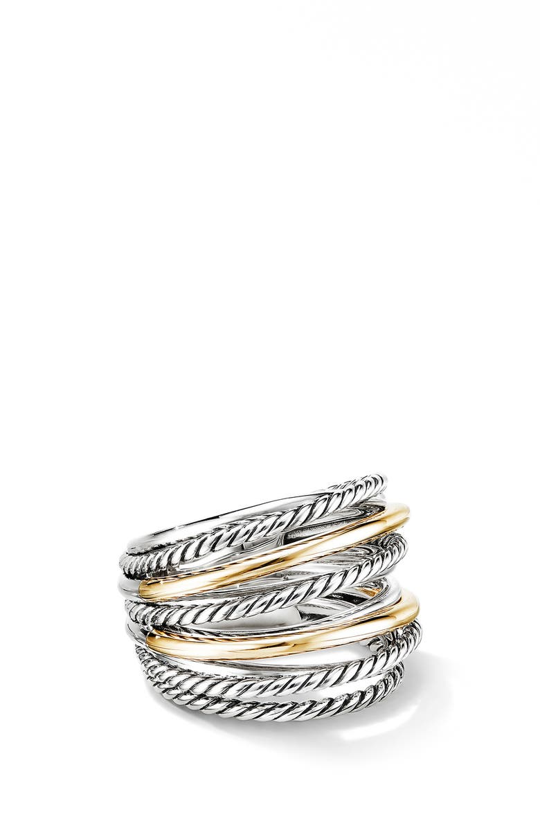 DAVID YURMAN Crossover Wide Ring with 18K Gold, Main, color, SILVER/ GOLD