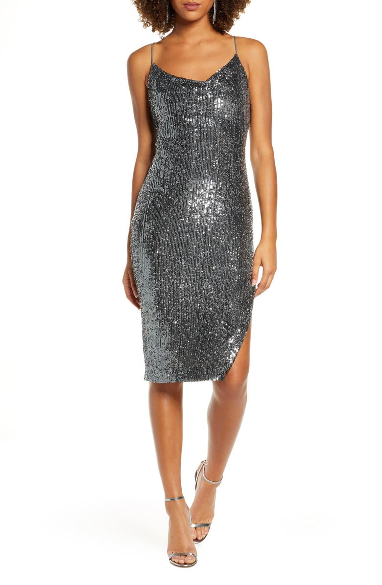 BARDOT Sequin Slip Dress, Main, color, GUNMETAL