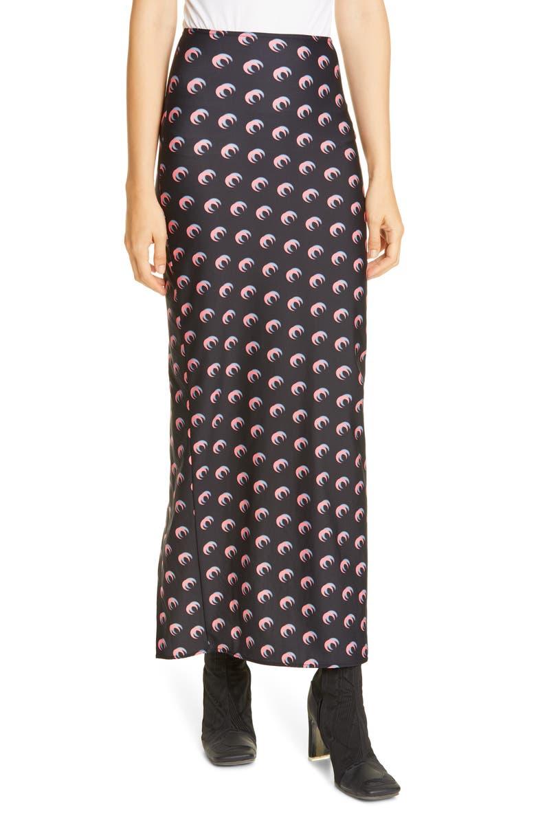 MARINE SERRE Moon Print Jersey Midi Tube Skirt, Main, color, MOON SHADOW BLACK / PINK