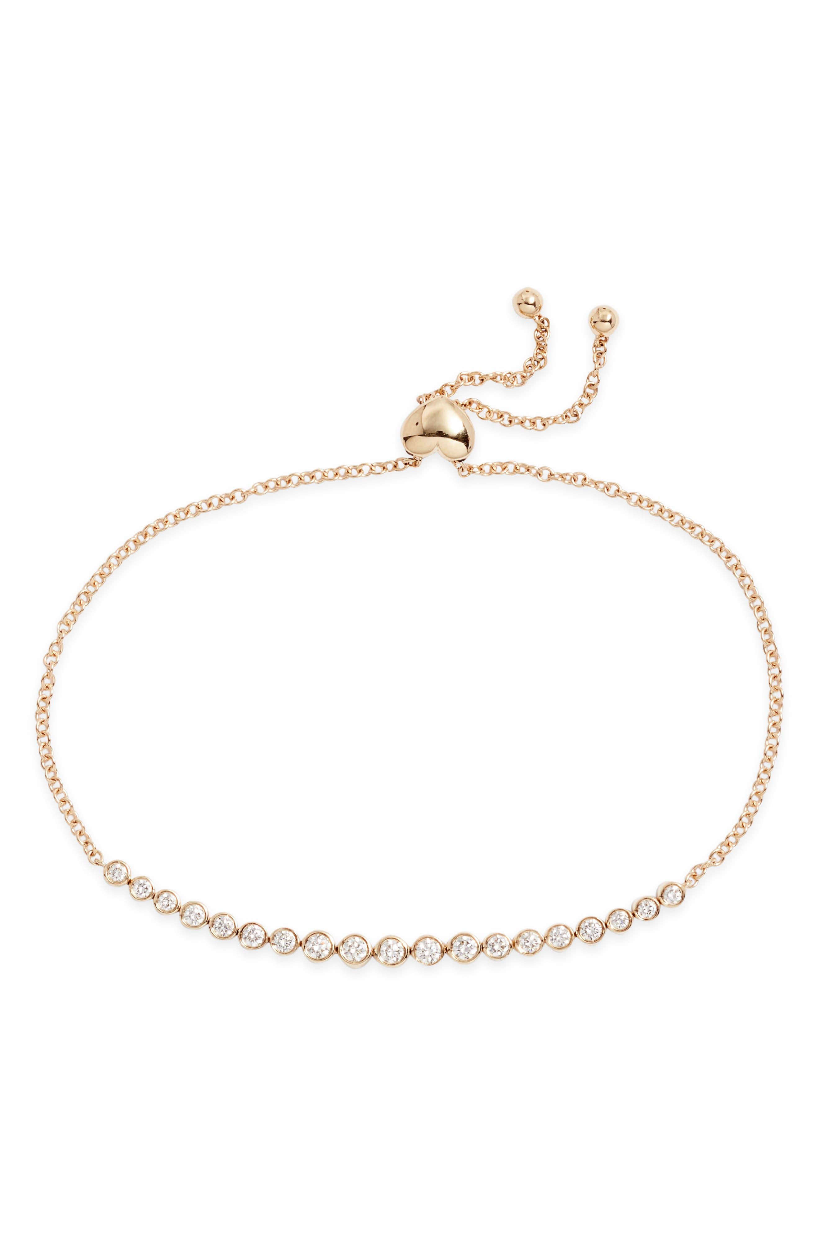 Multi Diamond Bezel Bolo Bracelet