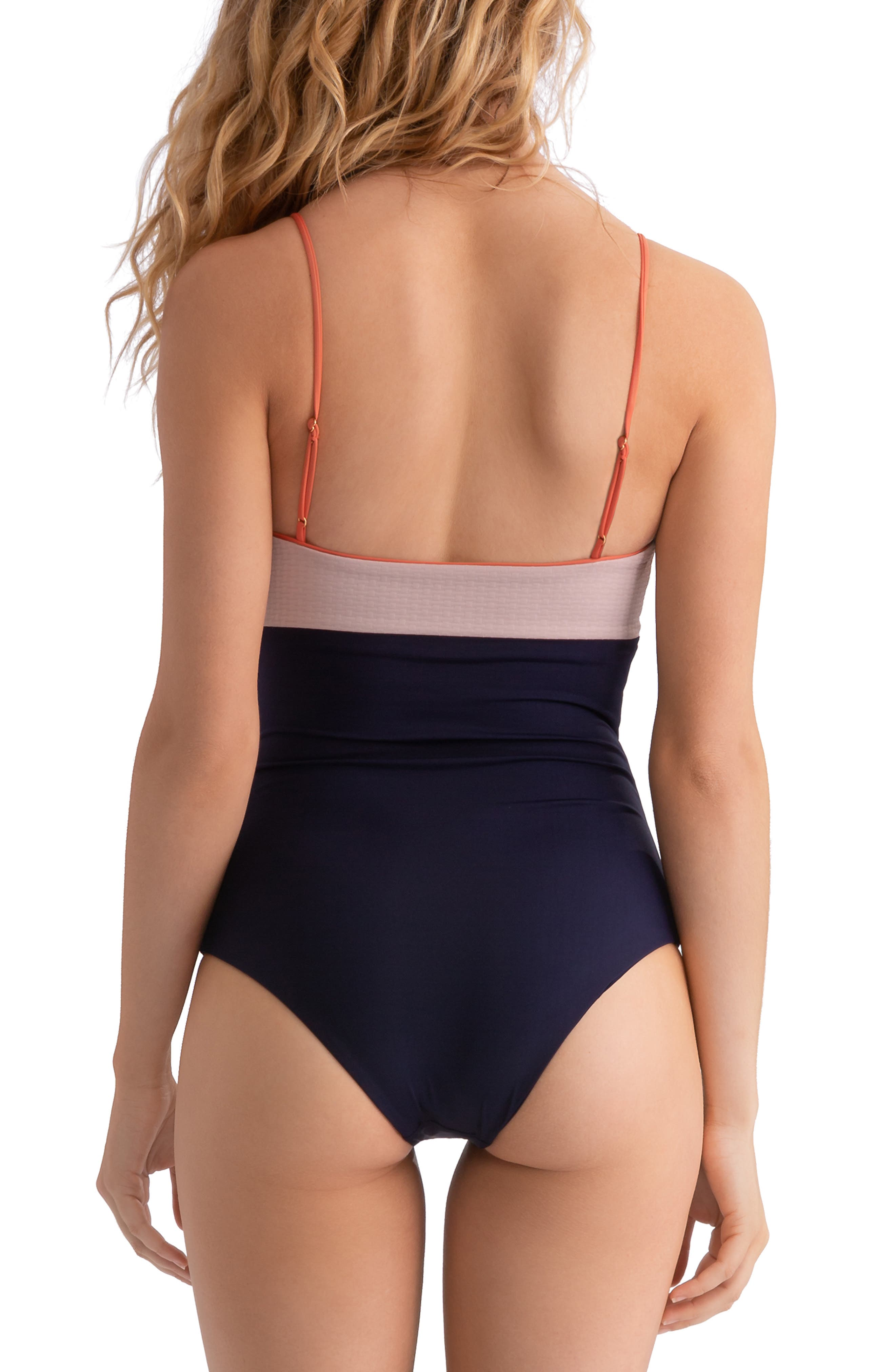 ,                             Scarlett Colorblock One-Piece Swimsuit,                             Alternate thumbnail 2, color,                             CLAY/ EVENING BLUE