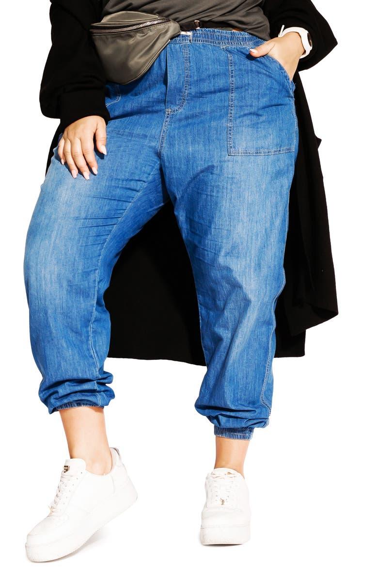 CITY CHIC Jogger Jeans, Main, color, DENIM