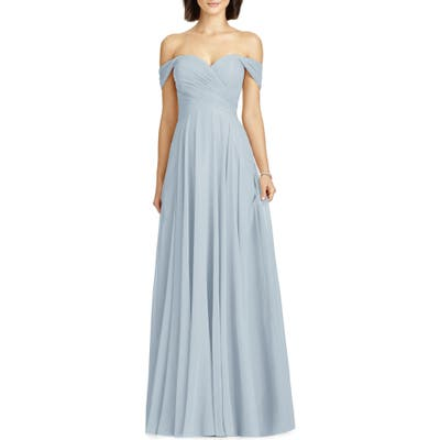 Dessy Collection Lux Ruched Off The Shoulder Chiffon Gown, Blue