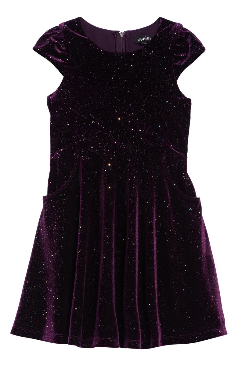 ZUNIE Glitter Velvet Dress, Main, color, EGGPLANT