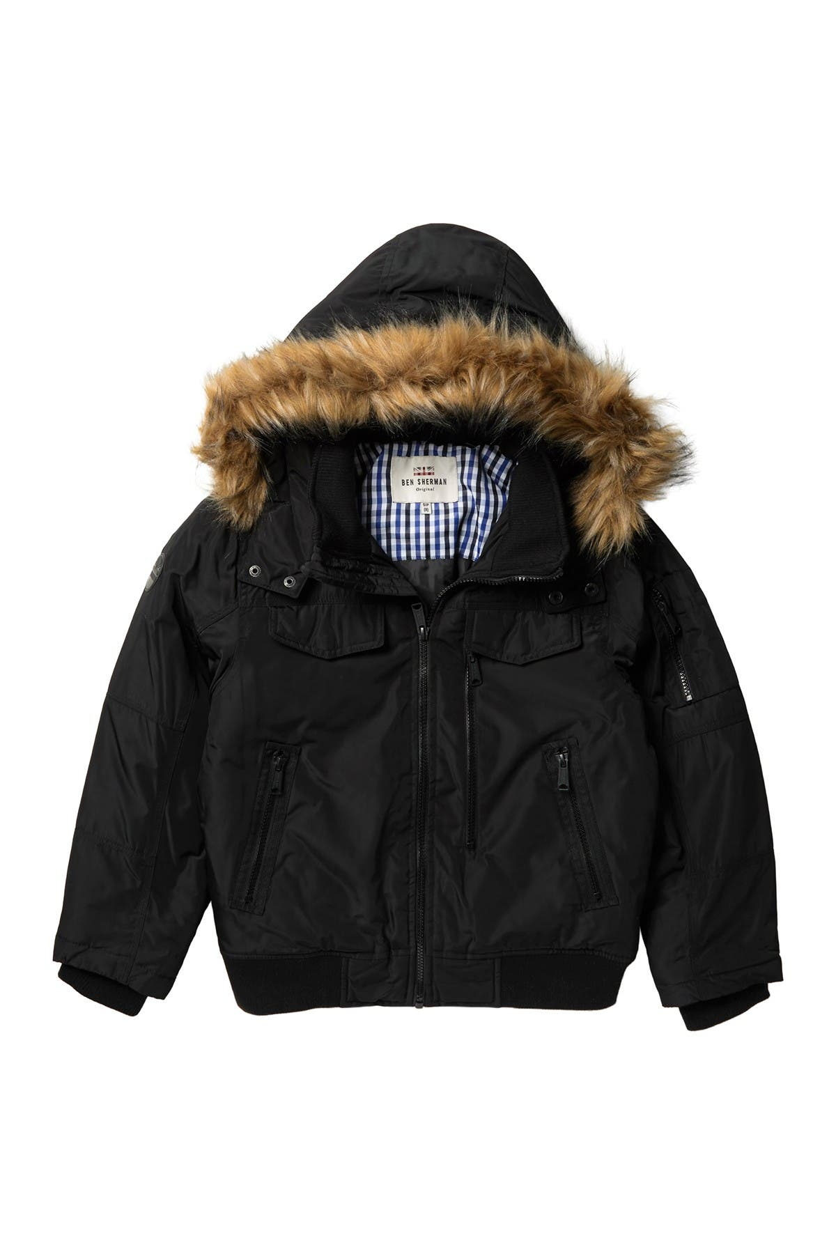 Image of Ben Sherman Parka Bomber with Removable Faux Fur