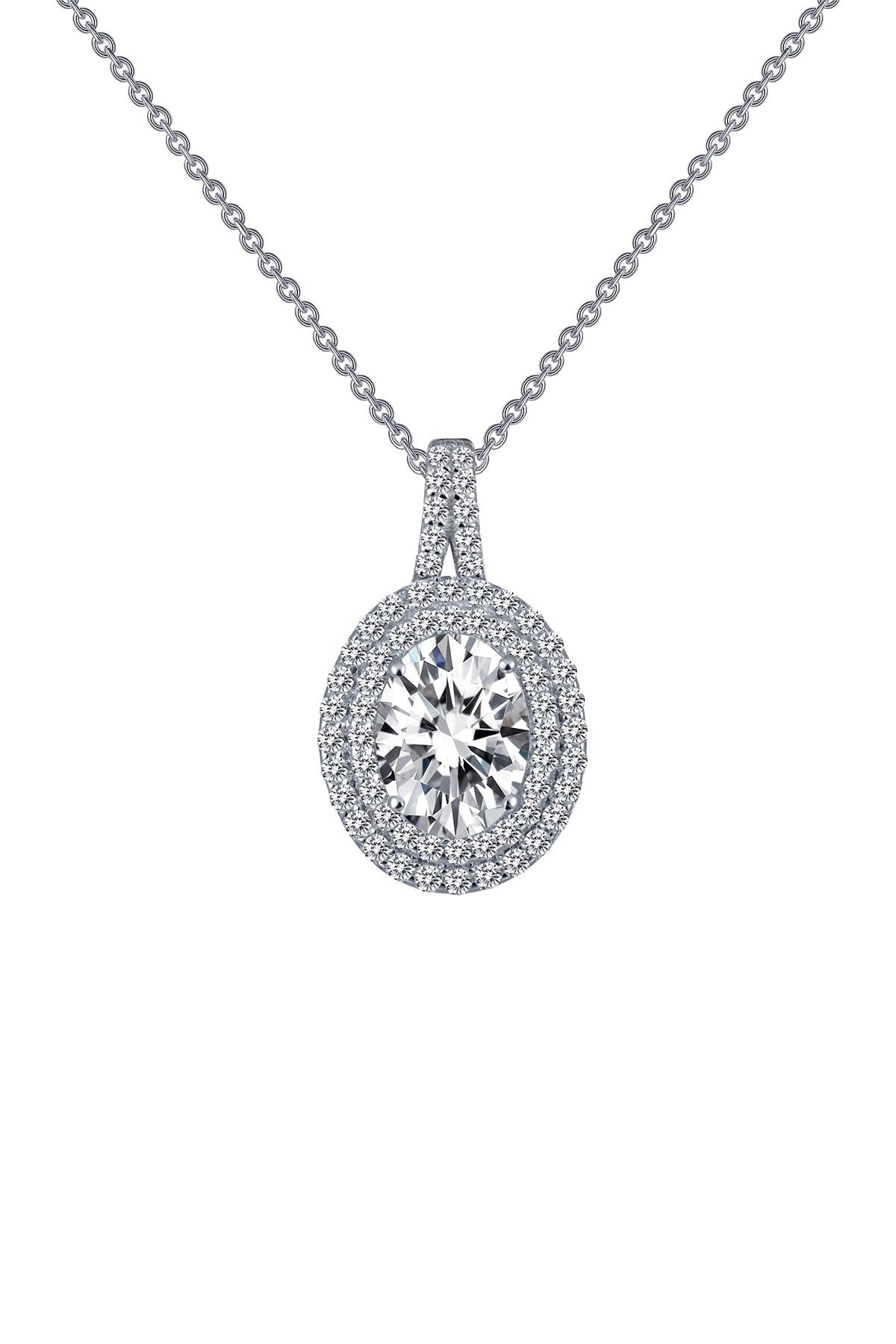 Image of LaFonn Platinum Bonded Sterling Silver Oval Simulated Diamond Halo Pendant Necklace