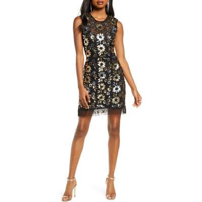 French Connection Fia Sparkle Flower Sleeveless Sheath Dress, Black