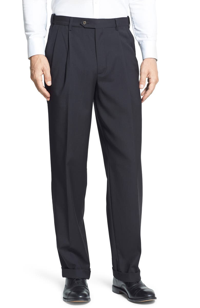 BERLE Self Sizer Waist Pleated Classic Fit Dress Pants, Main, color, BLACK
