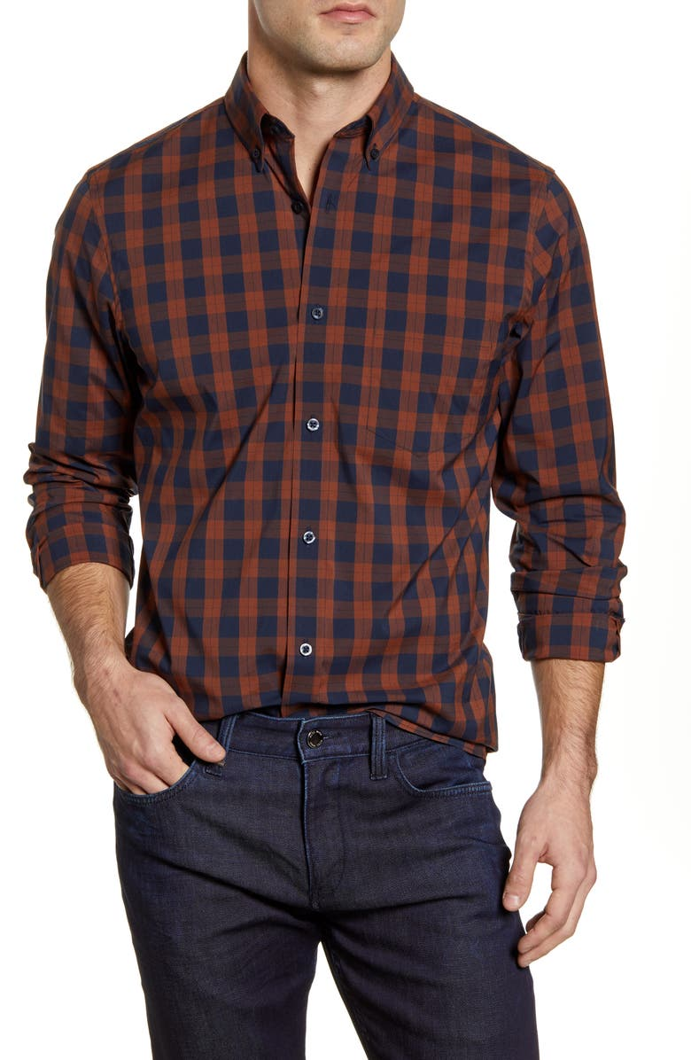 NORDSTROM MEN'S SHOP Tech-Smart Regular Fit Check Button-Down Shirt, Main, color, NAVY RUST BASIC CHECK