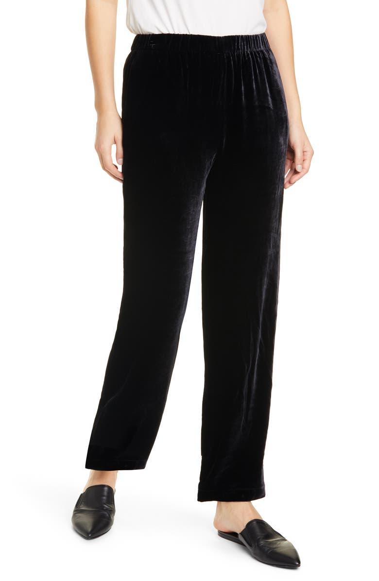 EILEEN FISHER Pull-On Straight Leg Velvet Pants, Main, color, BLACK