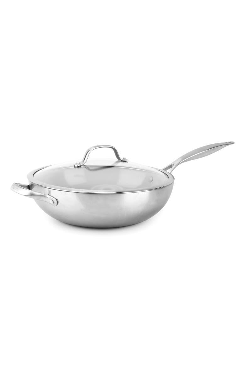 GREENPAN Venice Pro 12-Inch Ceramic Nonstick Wok & Glass Lid, Main, color, STAINLESS STEEL