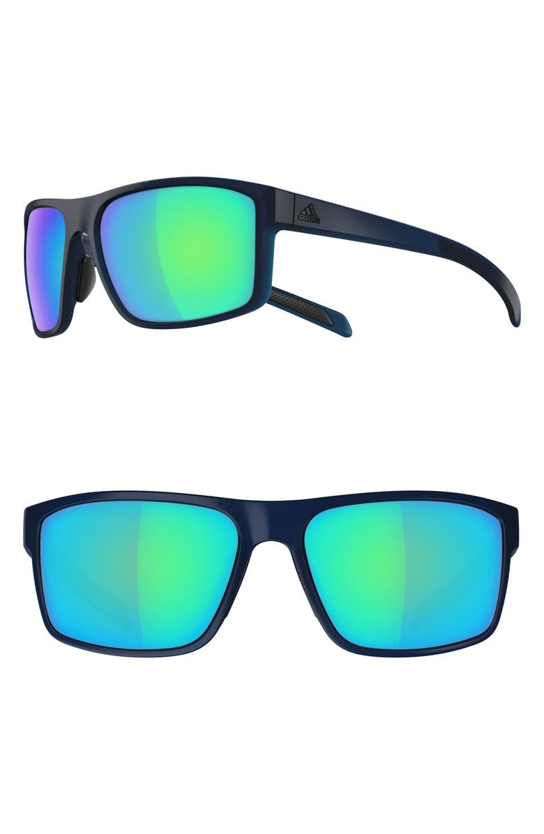 ADIDAS Whipstart 61mm Mirrored Sunglasses, Main, color, MYSTERY BLUE MATTE/ BLUE