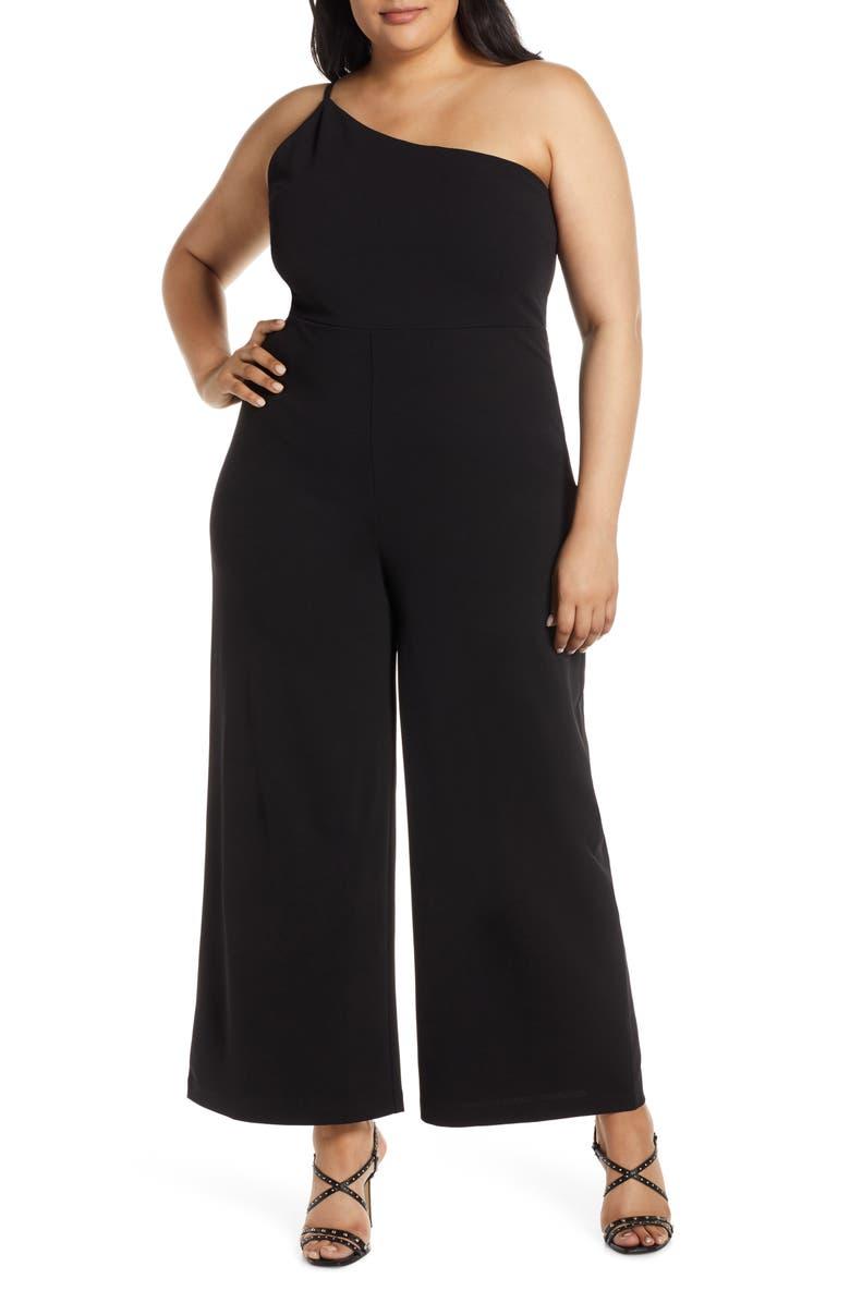 LEITH One-Shoulder Jumpsuit, Main, color, BLACK