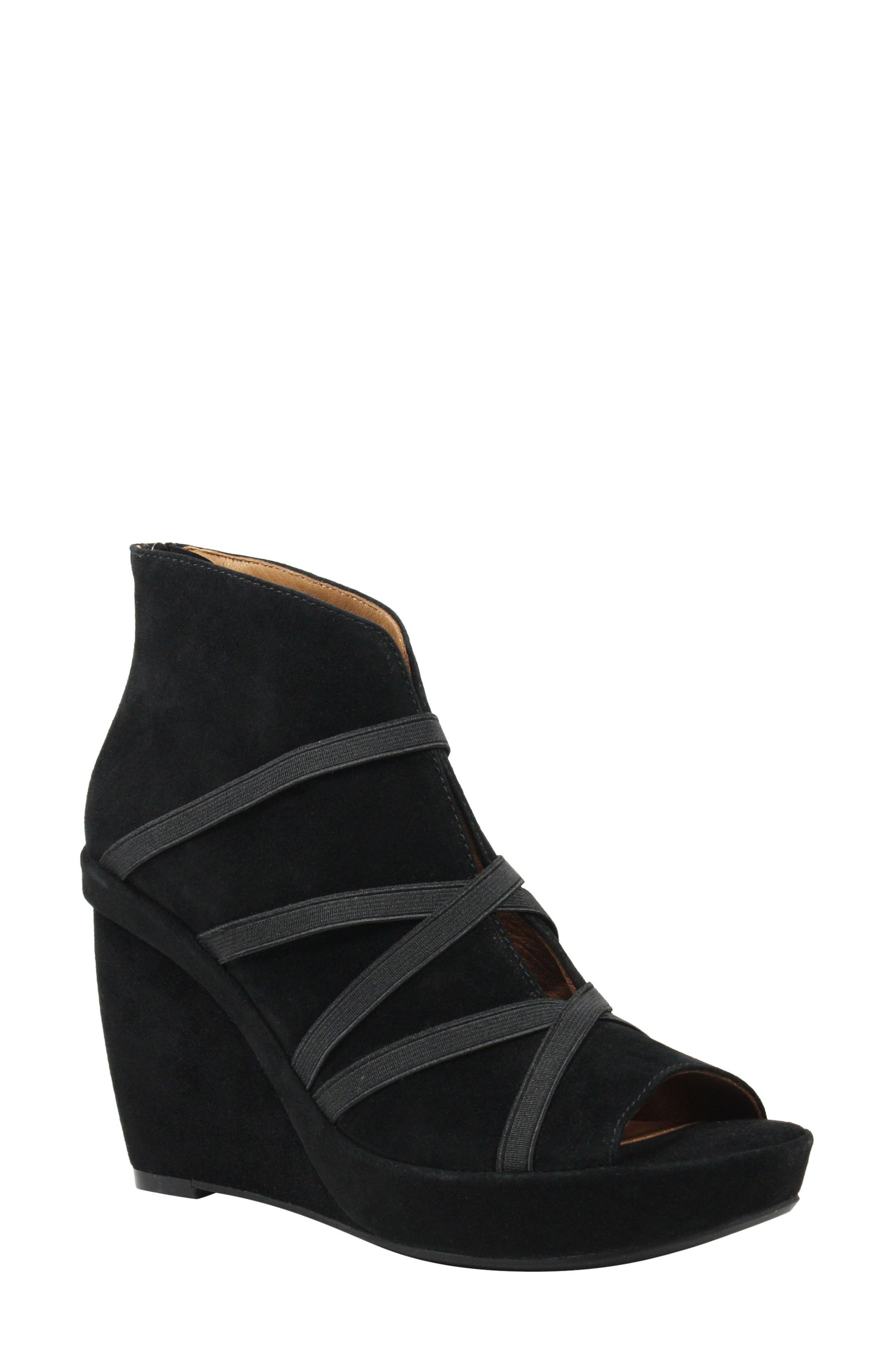 Icelos Wedge Bootie, Main, color, BLACK SUEDE