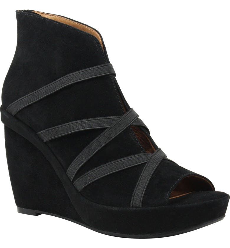 L'AMOUR DES PIEDS Icelos Wedge Bootie, Main, color, BLACK SUEDE