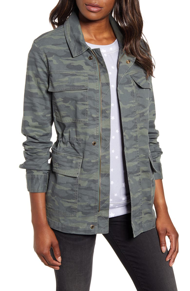 CASLON<SUP>®</SUP> Metallic Stitch Utility Jacket, Main, color, OLIVE BRITISH CAMO
