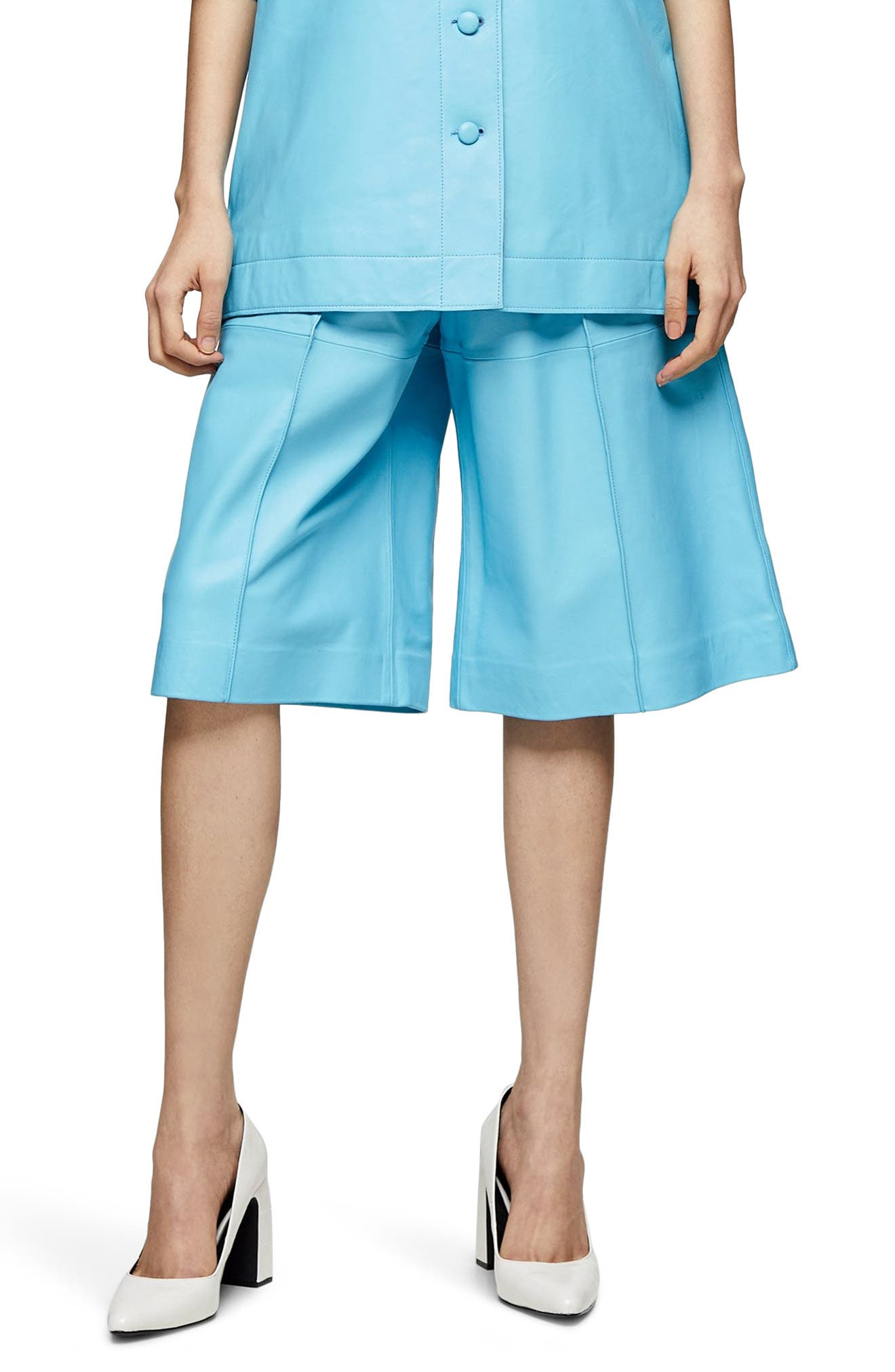 Women's Topshop Boutique Leather Bermuda Shorts,  2 US (fits like 0) - Blue