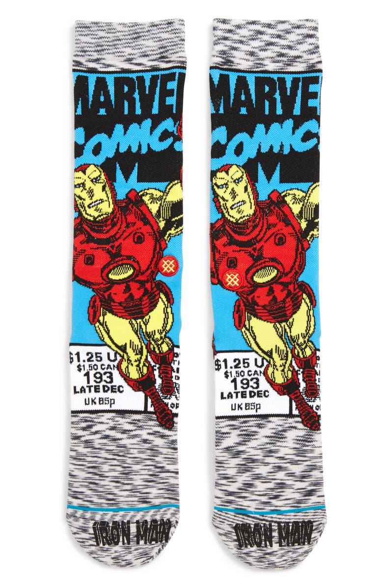 STANCE Iron Man Socks, Main, color, GREY