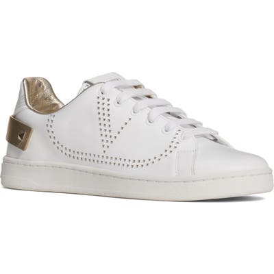 Valentino Garavani Net Perforated Court Sneaker, White