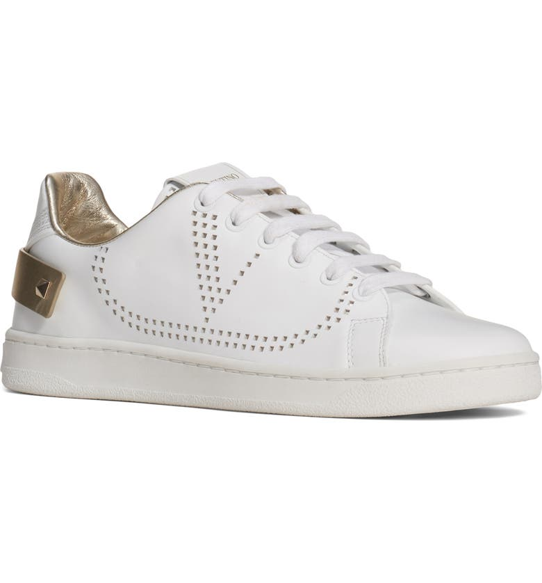 VALENTINO GARAVANI Net Perforated Court Sneaker, Main, color, WHITE/ PLATINO