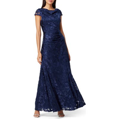 Tahari Floral Burnout Evening Gown, Blue