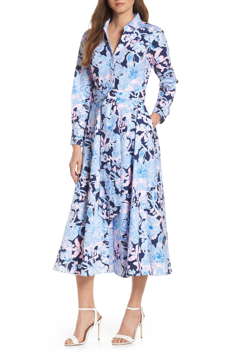 LILLY PULITZER<SUP>®</SUP> Mira Shirtdress, Main, color, BRIGHT NAVY AMORE PLEASE