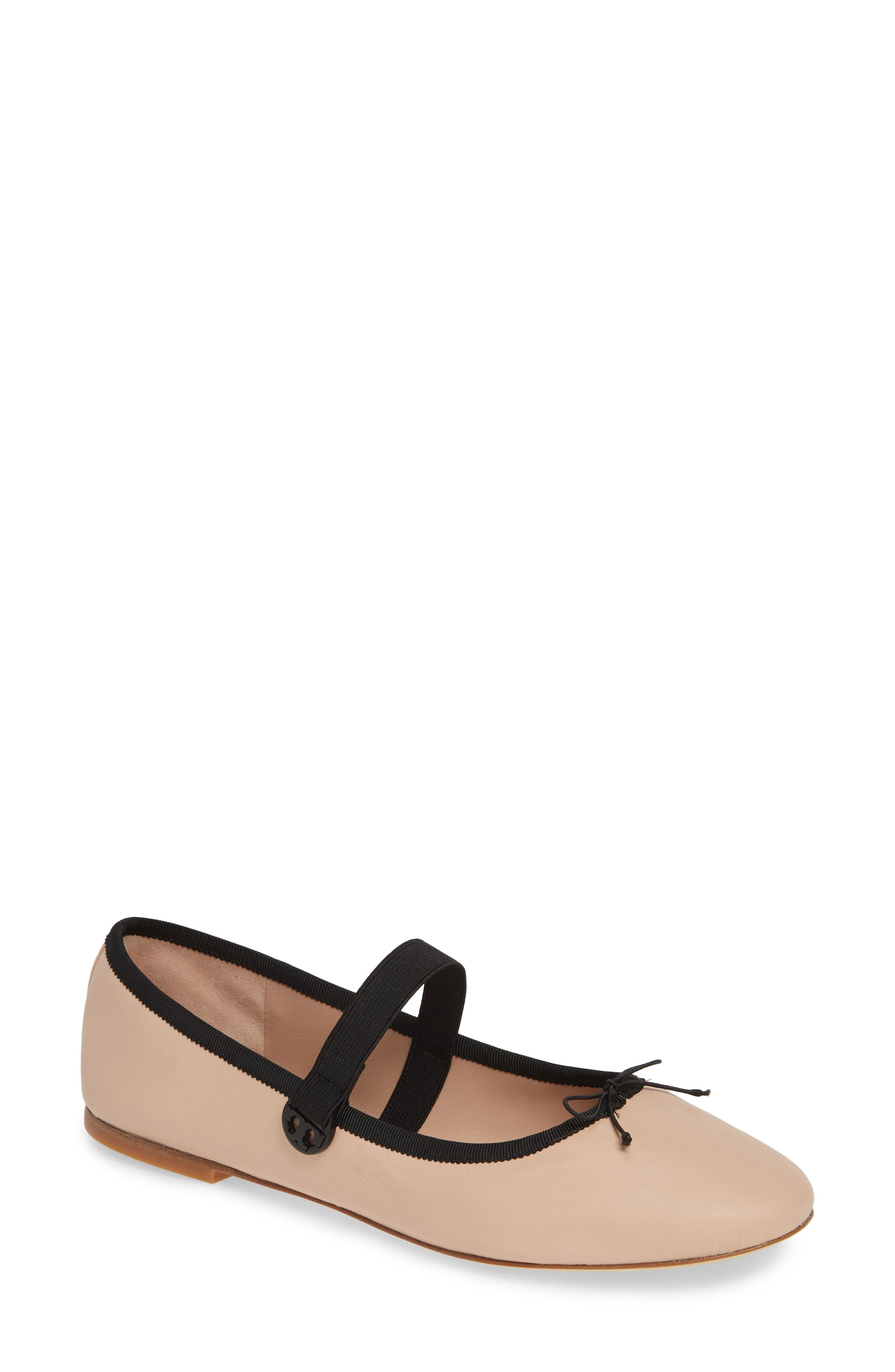 Mary Jane Ballet Flat, Main, color, GOAN SAND/ PERFECT BLACK