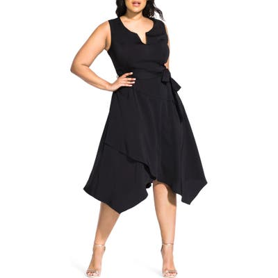 Plus Size City Chic Flirty Faux Wrap Dress, Black