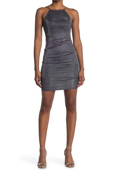 Image of JUMP Halter Neck Shirred Metallic Dress