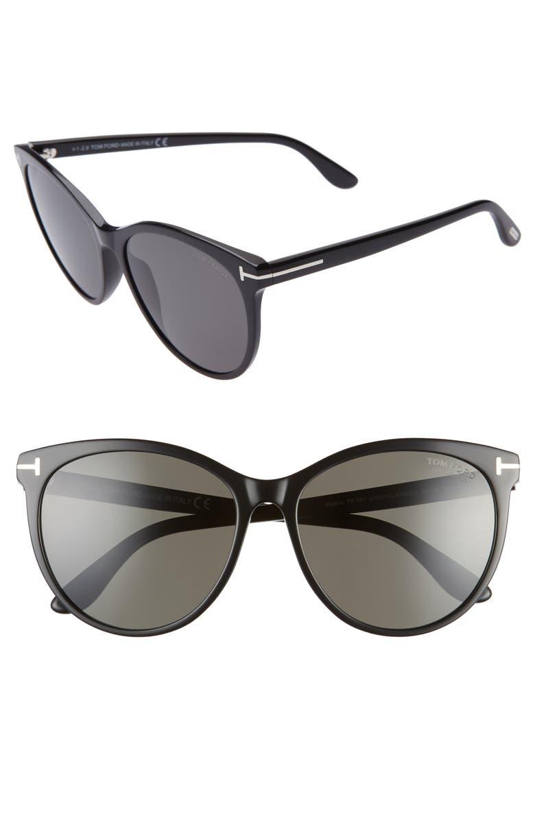 TOM FORD Maxim 59mm Polarized Cat Eye Sunglasses, Main, color, BLACK/ BLACK