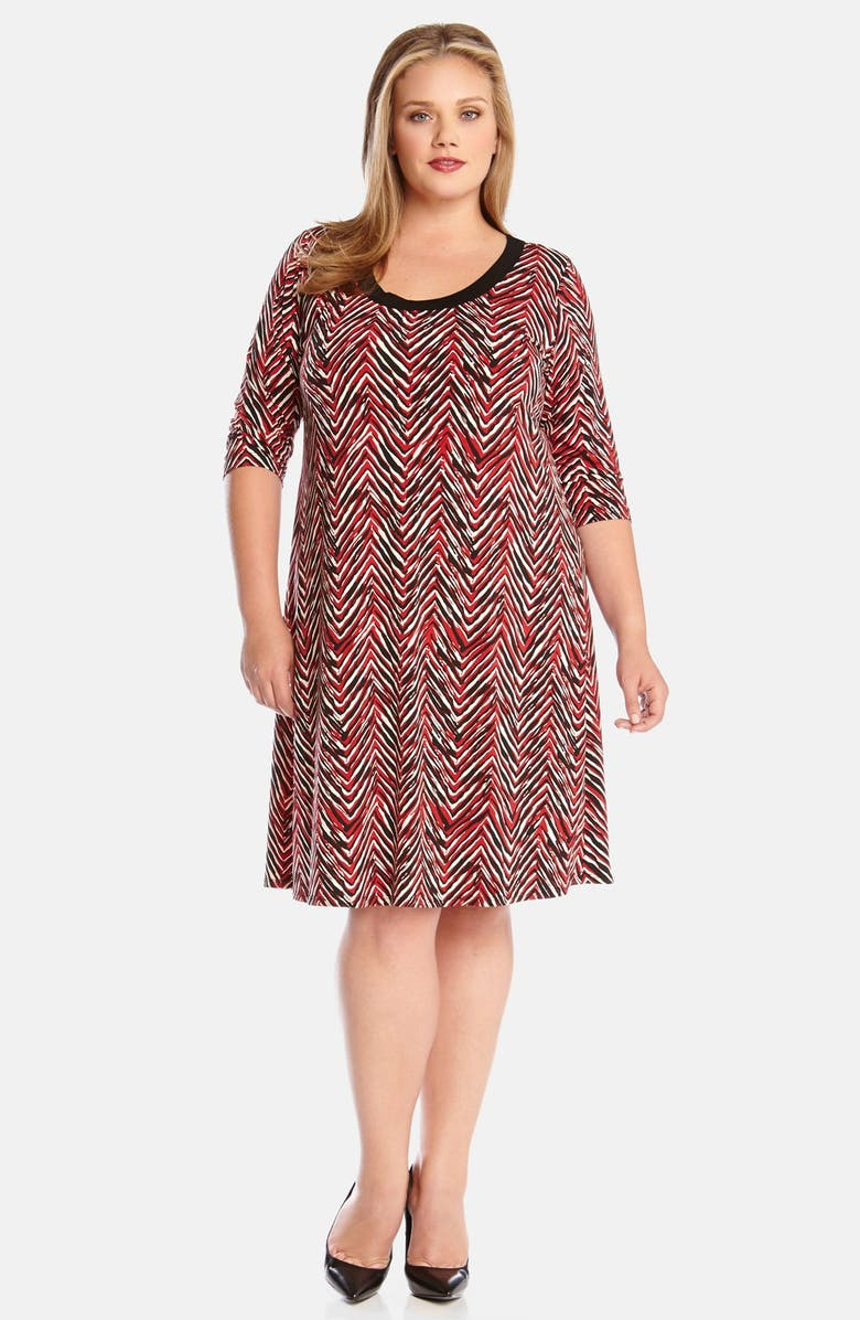 Karen Kane \'Painted Chevron\' Print A-Line Dress (Plus Size ...