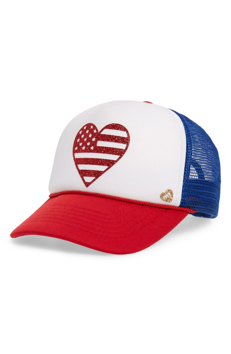 MOTHER TRUCKER & CO. Flag Heart Trucker Hat, Main, color, RED/ WHITE/ BLUE
